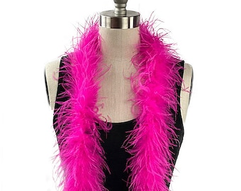 Ostrich Feather Boa, Shocking Pink 2 Ply Value Ostrich Boa Halloween Costume, Dance and Fashion Design ZUCKER® Dyed & Sanitized in the USA