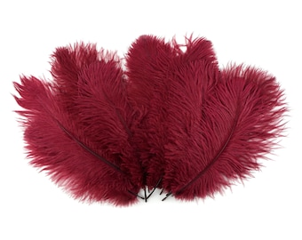 """Ostrich Feathers 9-12"""" BURGUNDY, Ostrich Drabs, Centerpiece Floral Supplies, Carnival & Costume Feathers ZUCKER®Dyed and Sanitized USA"""