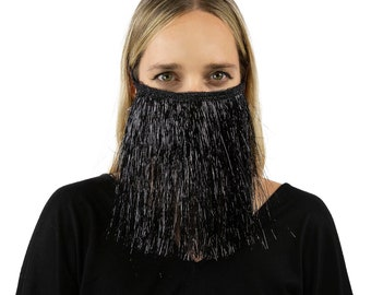 Fitted Fringe Mask, Metallic Black Tinsel Reusable Face Mask, Washable, Halloween Fringe Mask, Fashion Face Mask, Face Covering ZUCKER®