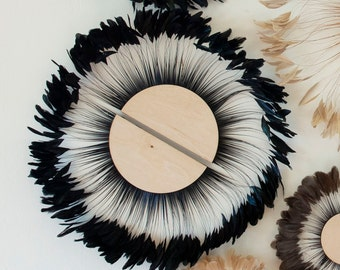 Unique Decorative Feather Wall Art, Half Moon Set Iridescent Black Feather Wall Art and Decor for Home and Office, Feather Wall Art ZUCKER®