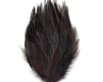 BROWN 12 Dyed Hackle Pads - For Feather Crafts, Fascinators, Millinery, Fashion, Costume and Carnival Design ZUCKER®