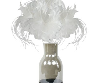 White Feather Flowers & Vase Set, Smoke Gray with Black Personalized LOVE Chalkboard Bottom, Feather Centerpiece w/ Glass Jug ZUCKER®