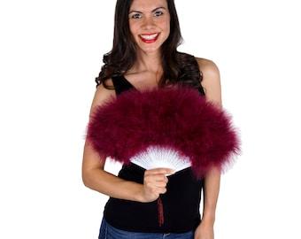 Burgundy Feather Fan, Small Marabou Feather Fan, Cheap Feather Fan For Photobooths, Costume Parties, Carnival & Halloween ZUCKER®