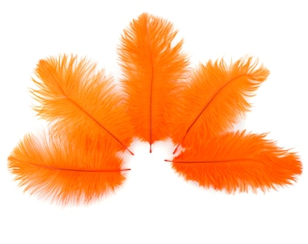"Ostrich Feathers 4-8"" ORANGE, Mini Ostrich Drabs, Floral Bouquets, Boutonnieres, Small Centerpieces, Hat Trims ZUCKER®"