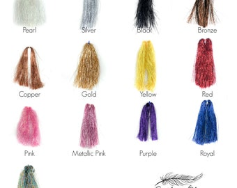 Glimmer Tinsel, Metallic Mylar Streamer, Holographic Flashabou, Fly Fishing, Fly Tying, Jewelry Making, Arts and Craft Supplies ZUCKER®