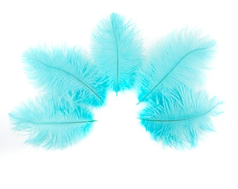 "Ostrich Feathers 4-8"" Light TURQUOISE, Mini Ostrich Drabs, Floral Bouquets, Boutonnieres, Small Centerpiece ZUCKER® Dyed and Sanitized USA"