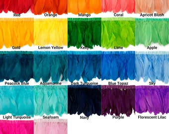 22 Colors Feather Fringe, 1 Yd Parried Goose Feather Fringe For DIY Art Craft, Carnival Costume, Cosplay, Millinery & Fashion Design ZUCKER®