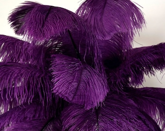 "Large Ostrich Feathers 25 Pieces 17-25"" Prime Ostrich Femina Wing Plumes Eggplant PURPLE, Wedding Centerpiece, Carnival Feathers ZUCKER® USA"