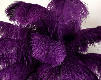 """Large Ostrich Feathers 17-25"""", 1 to 25 Pieces Prime Ostrich Femina Wing Plumes PURPLE, Wedding Centerpiece, Carnival Feathers ZUCKER® USA"""