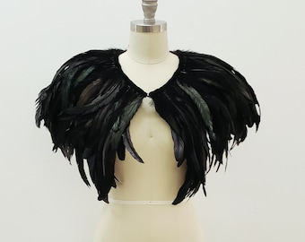 Deluxe Black Feather Collar or Cape, Fantasy Feather Collar for Events, Costume, Carnival & Cosplay ZUCKER® Feather Place Original Designs