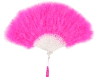 PINK ORIENT Marabou Feather Fans - Photobooth Accessories, Perfect for Great Gatsby, Roaring 20's Theme Costume Parties & Halloween ZUCKER®