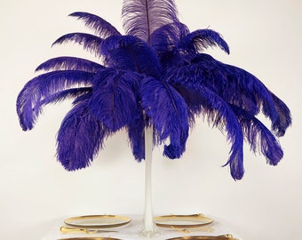 "Large Ostrich Feathers 6 Pieces 17-25"" Prime Ostrich Femina Wing Plumes, REGAL Purple, Wedding Centerpieces, Carnival Feathers ZUCKER® USA"