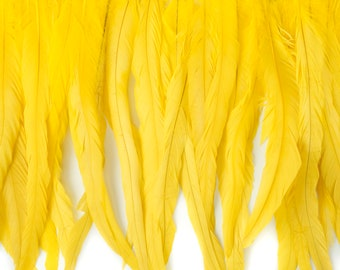 """12-14"""" BRIGHTYELLOW Dyed Coque Feather Fringe 1YD - For DIY Art Crafts, Carnival Costume, Cosplay, Millinery & Fashion Design Fringe ZUCKER™"""