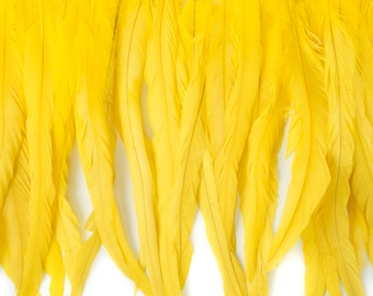 "12-14"" BRIGHTYELLOW Dyed Coque Feather Fringe 1YD - For DIY Art Crafts, Carnival Costume, Cosplay, Millinery & Fashion Design Fringe ZUCKER®"
