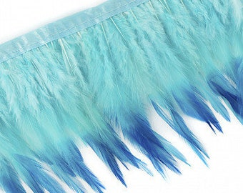 "1 Yard TURQUOISE Tipped & Dyed Saddle Feather Fringe approx 6-8"" - For Cultural Arts, Carnival, Costume, Fashion, Millinery Design  ZUCKER®"
