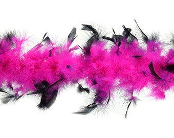 40 Gram Chandelle Feather Boa Tipped PINK & BLACK 2 Yards For Party Favors, Kids Craft, Dress Up, Dancing, Halloween, Costume ZUCKER®