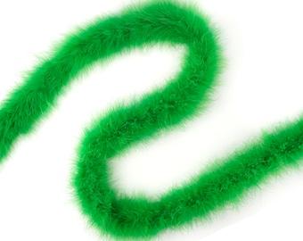 Marabou Boa 2 Yards, KELLY Green Turkey Heavy Weight Marabou Feather Boa 25 Gram Halloween Craft Supply and Costume Trim ZUCKER® USA