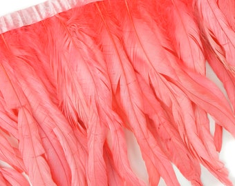 "10-12"" CORAL Dyed Coque Feather Fringe 1YD - DIY Art Crafts, Carnival, Cosplay, Costume, Millinery & Fashion Design Feather Fringe ZUCKER®"