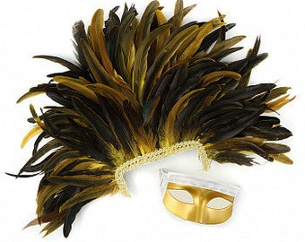 Feather Headdress with Gold Removable Masquerade Mask -  Cultural Dance, Carnival and Halloween Costume Feather Headdress ZUCKER®