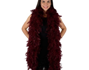 120 Gram Chandelle Feather Boa Burgundy 2 Yards For Party Favors, Kids Craft & Dress Up, Dancing, Wedding, Halloween, Costume ZUCKER®