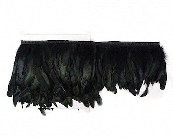 BULK 5yd Rooster Coque Feather Fringe - Dyed Black- DIY Art Crafts, Carnival, Cosplay, Costume, Millinery & Fashion Design ZUCKER®