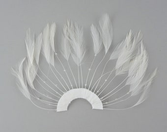 WHITE Hackle Feather Trim - Hackle Plate Feather Trim with Beads for DIY Arts and Crafts, Millinery & Costume Design ZUCKER®