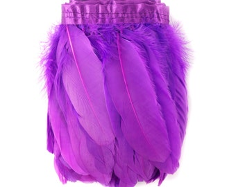 Parried Goose Pallet Feather Fringe 1 Yard Fluorescent LILAC - For Art Crafts, Carnival Costume, Cosplay, Millinery & Fashion Design ZUCKER®