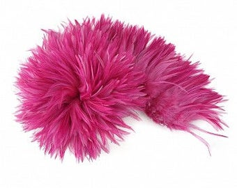 RASPBERRY Dyed Rooster Saddle Feathers - Strung 1 Yard for Crafts, Fashion & Costume Design ZUCKER®