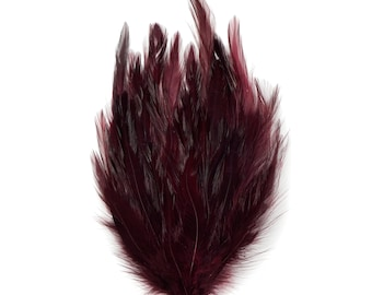 BURGUNDY 12 Dyed Hackle Pads - For Feather Crafts, Fascinators, Millinery, Fashion, Costume and Carnival Design ZUCKER®