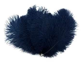 """Ostrich Feathers 9-12"""" NAVY, Ostrich Drabs, Centerpiece Floral Supplies, Carnival & Costume Feathers ZUCKER®Dyed and Sanitized USA"""