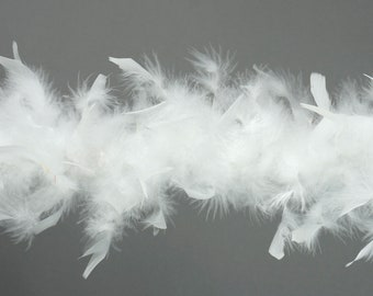 40 Gram Chandelle Feather Boa WHITE 2 Yards For Party Favors, Kids Crafting & Dress Up, Dancing, Wedding, Halloween, Costume ZUCKER®