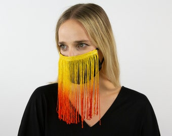Fitted Fringe Mask, Orange Yellow Ombre Fringe Reusable Face Mask, Washable, Halloween Fringe Mask, Fashion Face Mask, Face Covering ZUCKER®