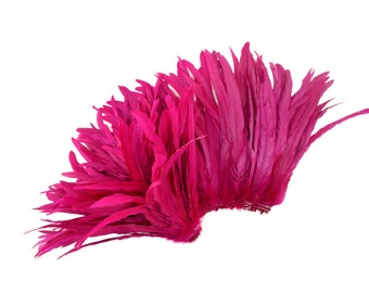 "SHOCKING PINK 12-14"" Bulk Bleach-Dyed Rooster Coque Tail Feathers Strung by the 1/4lb For Cultural Arts, Carnival & Costume Design ZUCKER®"