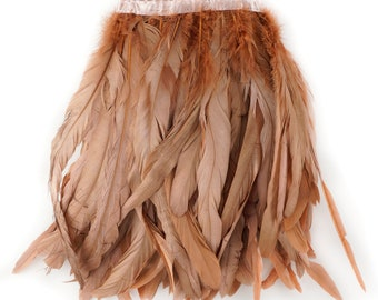 COPPER 1YD Metallic Dyed Iridescent Coque Tail Feather Fringe - For DIY, Carnival, Cosplay, Costume, Millinery & Fashion Design ZUCKER®