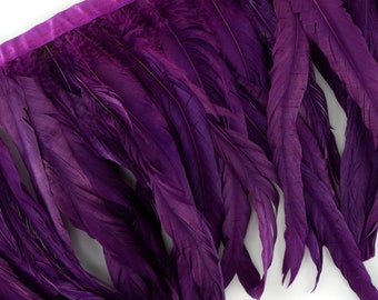 "10-12"" PURPLE Dyed Coque Feather Fringe 1YD - DIY Art Crafts, Carnival, Cosplay, Costume, Millinery & Fashion Design Feather Fringe ZUCKER®"