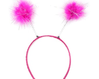 SHOCKING PINK Marabou Feather Antenna Headbands - For Halloween and Costume Parties