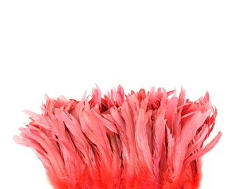 "CORAL 8-10"" Bulk Bleach-Dyed Rooster Coque Tail Feathers Strung by the 1/4lb For Cultural Arts, Carnival & Costume Design ZUCKER®"