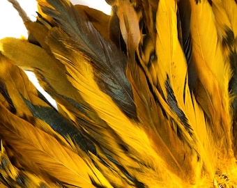 "Gold Chinchilla Rooster Feathers, 8-10"" Long Barred Rooster Feathers, Dyed Strung Bulk Feathers For Carnival & Costume Design ZUCKER®"