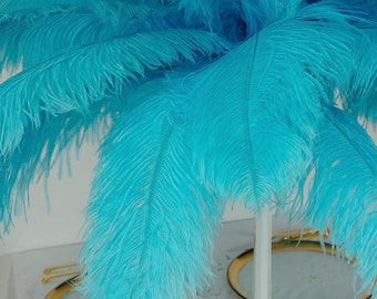 """Large Ostrich Feathers 17-25"""", 1 to 25 Pieces Prime Ostrich Femina Wing Plumes Light TURQUOISE, Wedding Centerpiece, Carnival ZUCKER® USA"""