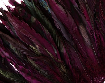 "Purple Chinchilla Rooster Feathers, 8-10"" Long Barred Rooster Feathers, Dyed Strung Bulk Feathers For Carnival & Costume Design ZUCKER®"