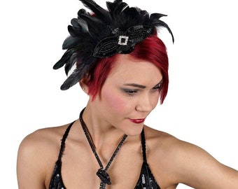 Black Feather Fascinator Accent with Rhinestone Details For Great Gatsby Roaring 20's, Halloween Costume & Fashion Accessory ZUCKER®