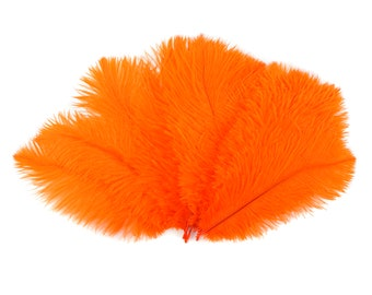 """Ostrich Feathers 9-12"""" ORANGE, Ostrich Drabs, Centerpiece Floral Supplies, Carnival & Costume Feathers ZUCKER®Dyed and Sanitized USA"""