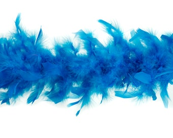 40 Gram Chandelle Feather Boa Ocean BLUE 2 Yards For Party Favors, Kids Crafting and Dress Up, Dancing, Wedding, Halloween, Costume ZUCKER®
