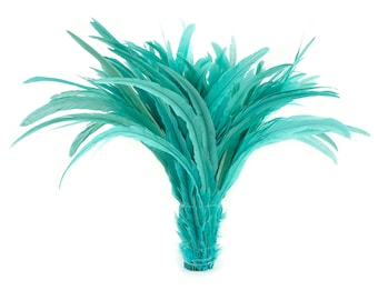 """LIGHT TURQUOISE 16-18"""" Bulk Bleach-Dyed Rooster Coque Tail Feathers Strung by the 1/4lb For Cultural Arts, Carnival & Costume Design ZUCKER®"""