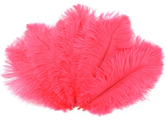 "Ostrich Feathers 9-12"" CORAL, Ostrich Drabs, Centerpiece Floral Supplies, Carnival & Costume Feathers ZUCKER®Dyed and Sanitized USA"