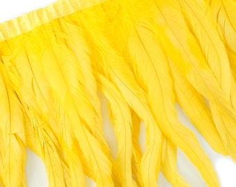 "10-12"" YELLOW Dyed Coque Feather Fringe 1YD - DIY Art Crafts, Carnival, Cosplay, Costume, Millinery & Fashion Design Feather Fringe ZUCKER™"