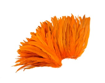 """Rooster Tail Feathers, ORANGE 12-14"""" Strung Bleach Dyed Coque Tails, Wholesale Feathers Bulk ZUCKER®"""