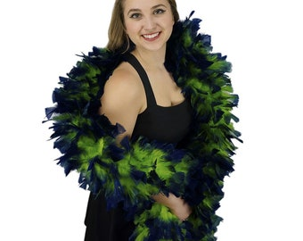Turkey Feather Boa - Large Lime Green and Navy Tipped Feather Boa for Costume, Carnival, Showgirl, Burlesque Dance Feather Boa ZUCKER®