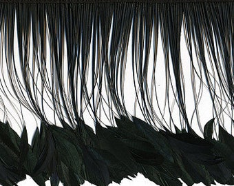 BLACK Stripped Coque Tail Feather Fringe - 1/4 YARD for Millinery, Costume and Fashion Design ZUCKER®