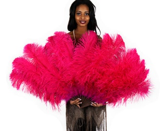 PINK Large Ostrich Feather Fan - For Burlesque Fan Dance, Showgirl Costume, Boudoir Photoshoots & Halloween Accessories ZUCKER®